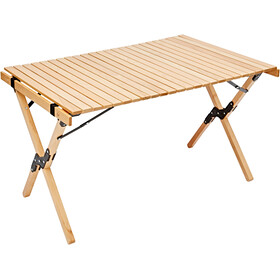 CAMPZ Beech Wood Rolling Table 90x60x53cm, brown